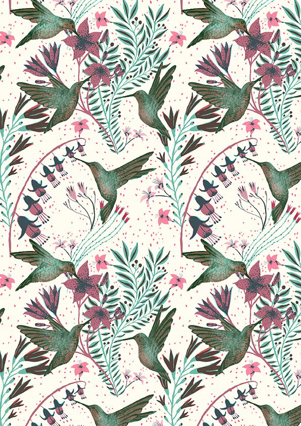 I've been fiddling around with repeat patterns, trying to make designs for fabric! Here are some hummingbirdies :D