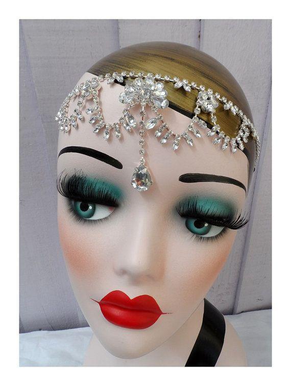 vintage style Charleston Flapper 1920s Great Gatsby fancy dress hen party prom ball wedding bridal rhinestone head band hairband