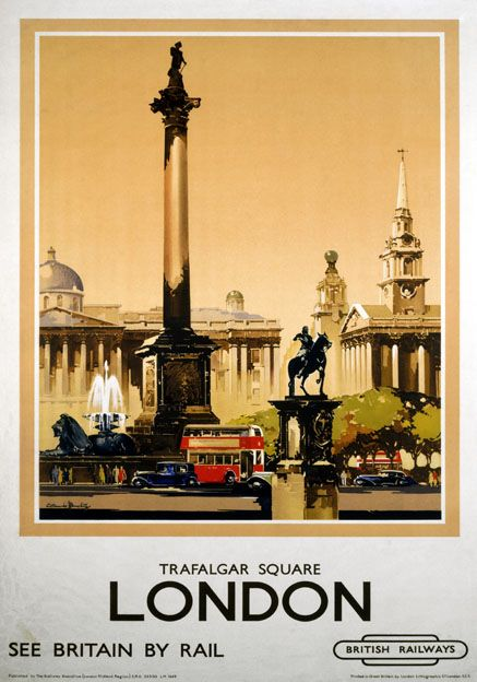 #British Railways (LMR) travel poster with Nelson's Column in the foreground and the National Gallery in the background. Vintage cars and the iconic red London double decker bus are also featured. 1948-1965. Artwork by Claude Buckle.