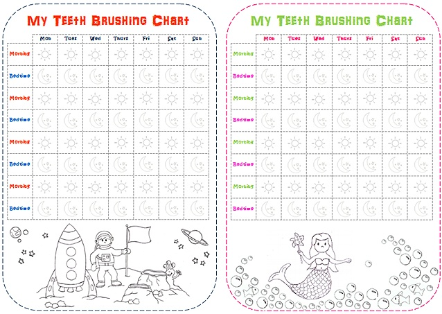 ... brushing reward charts - free printables from MessPots Rewards Chart
