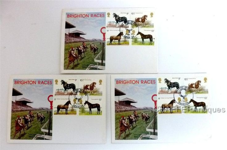 Three(3) First Day Edition Covers BRIGHTON RACES 1978, Shire Horse Society