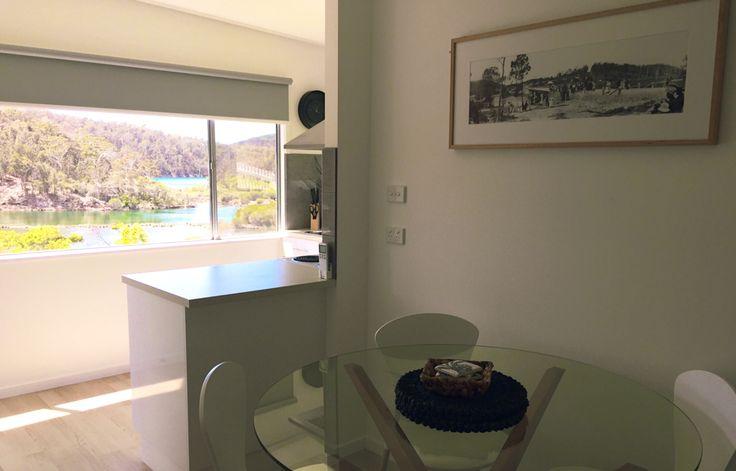 Yowaka River Cottage Kitchen River Views Pambula Lake Glass Table Black & White Print Framed Minimal Styling