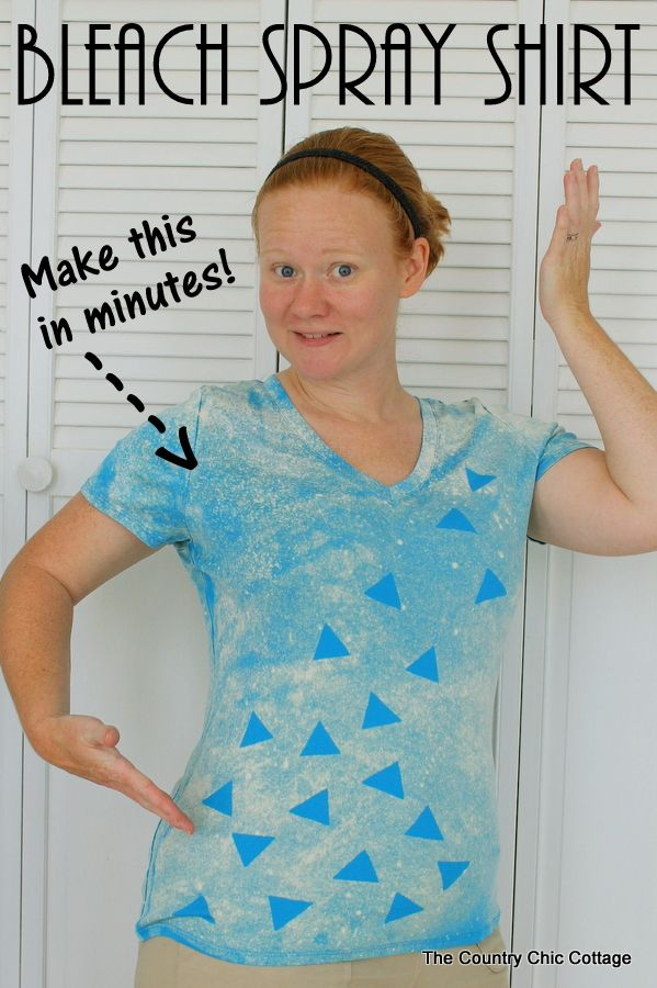 The Country Chic Cottage: Bleach Spray Shirt -- Make this fun shirt in minutes with some labels and bleach!