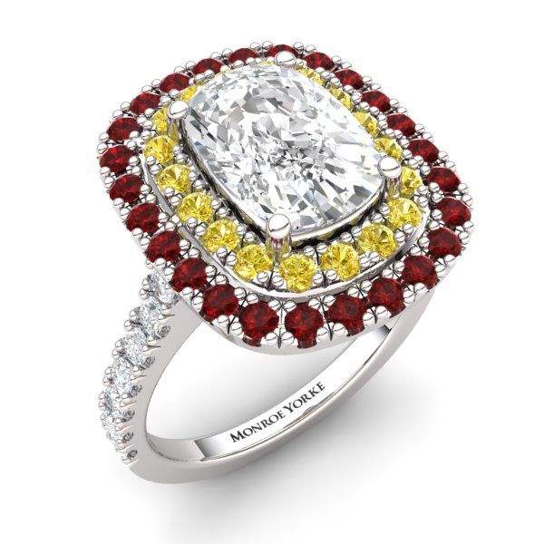 Diamond Halo Ring with Rubies and Yellow Diamonds Contact us at http://www.mydiamonds.com.au for more information