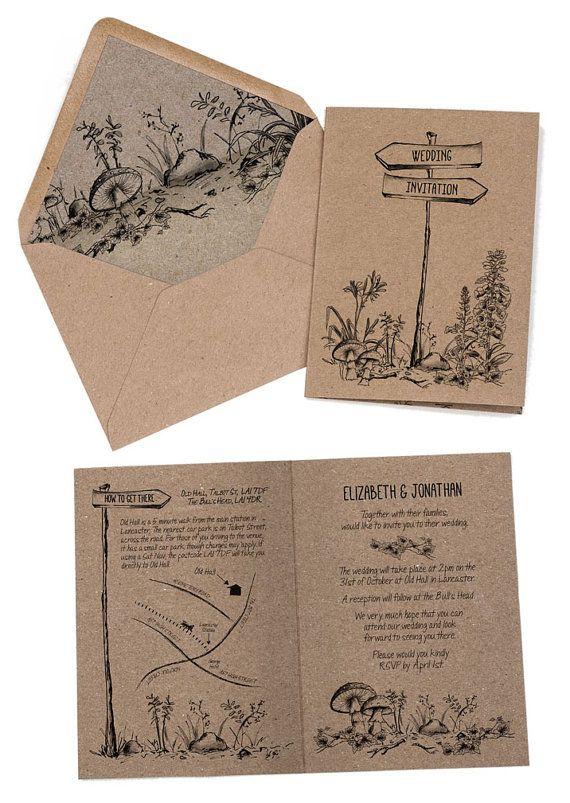 Wedding Invitation Rustic, Woodland Forest Invitation, Recycled Kraft Card,  Country Farm Wedding Invite