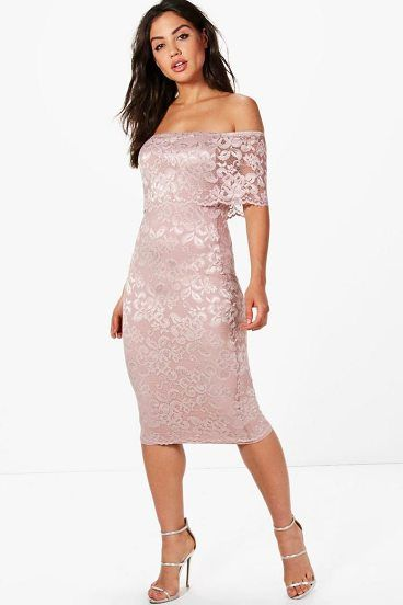 Beatrice Lace Off Shoulder Midi Dress by Boohoo. Dresses are the most-wanted wardrobe item for day-to-night dressing. From cool-tone whites to block brights, we've got the everyday skater dresses and party-ready bodycon styles that are perfect for transitioning from day to play. Minis,... #boohoo #dresses