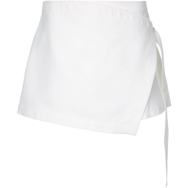 Dion Lee Utility Wrap Short (11,515 MXN) ❤ liked on Polyvore featuring shorts, skirts, bottoms, faldas, white short shorts, wrap shorts, dion lee, white shorts and utility shorts