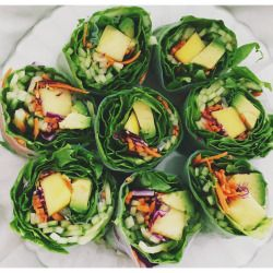 vegan-yogi:   summery salad rolls from whole foods for lunch   instagram: vegany0gini