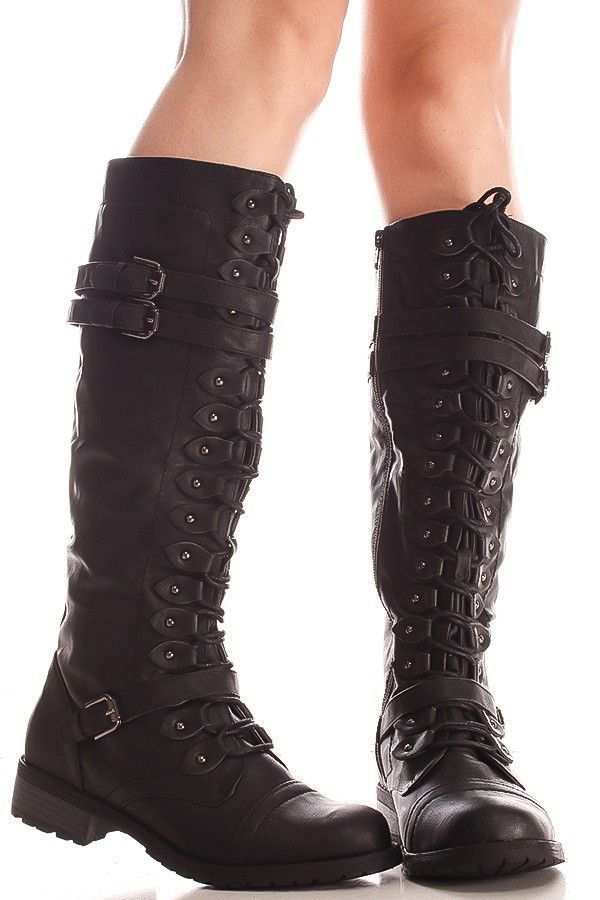 9c3eb15b8027 BLACK FAUX LEATHER MATERIAL LACED LOOK BUCKLE STRAP SIDE ZIPPER KNEE HIGH  BOOTS