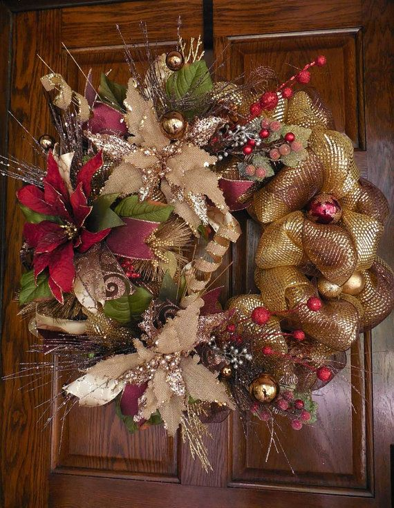 RESERVED Poinsettia wreath, Christmas Mesh wreath, Holiday Deco Mesh wreath, Christmas wreath      Using traditional holiday colors, this beautiful mesh wreath SPARKLES in an OLD WORLD Christmas style. Full of poinsettias, ornaments, berries, ribbons, sprays, and curls, this wreath is appropriate for the HOLIDAYS and for the WINTER season.    Large red and natural (burlap) glittered poinsettias are the focal points of this wreath. They are surrounded by natural burlap glittered curls, bronze…