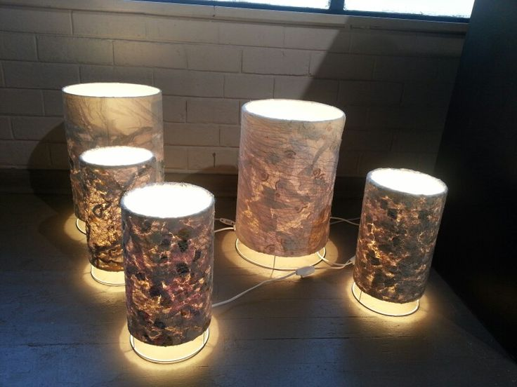 Lamps created from recycled fabrics by Christa Badenhorst-Smeul.