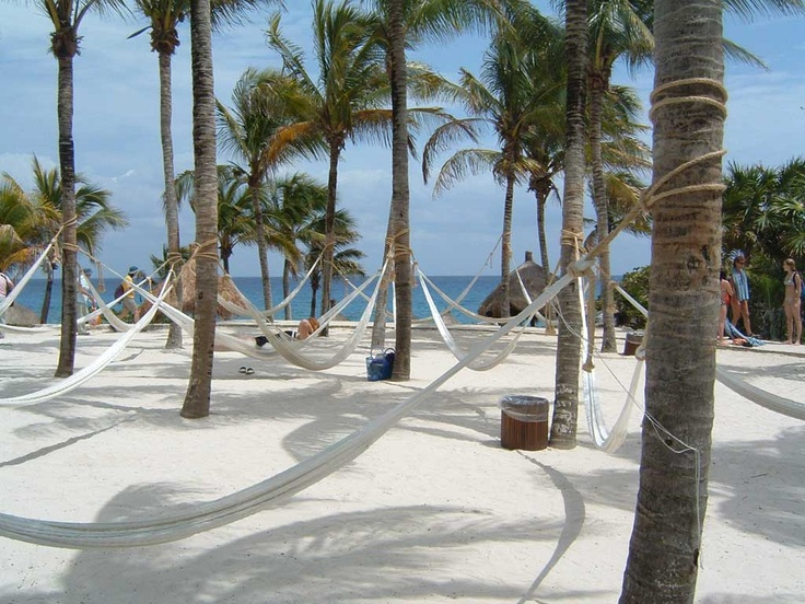Hammock anyone???  On a beach at Xcaret, Cancun.