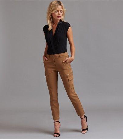 Pantalon cargo skinny écourté Kate