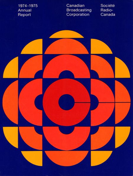 The Swiss Style was still as popular as ever in the 1970s. Geometric design and repetition was pervasive in the 1970s. This CBC logo was designed and then used for the Annual Report in 1975. Designed by Burton Kramer