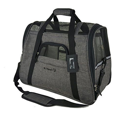 """Mr. Peanut's Airline Approved Soft Sided Pet Carrier, Two-Tone Luxury Travel Tote with Fleece Bedding, New Design, Under Seat Compatability, Perfect for Cats and Small Dogs (Charcoal Ash)  AIRLINE APPROVED PET CARRIER * 19"""" L x 10"""" W x 13"""" H - Please consider your pets sizing needs. This is the largest size a tote can be and still be considered airline capable. For Pets up to 14 lbs * Designed with a Ventilated Roof which is pliable to 8.5"""" to meet airline requirements of under forward..."""