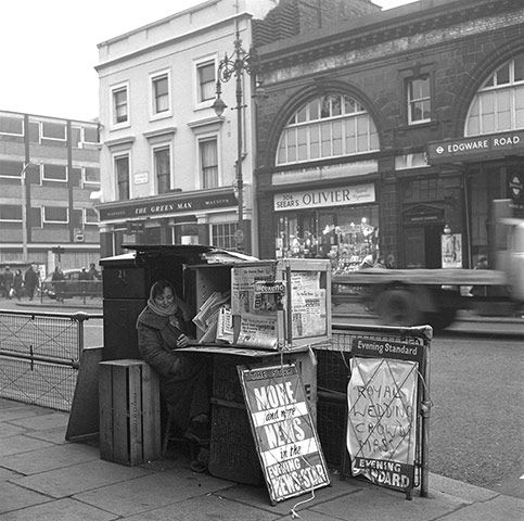 London Photographs by Frederick Wilfred, 1957-1962: News Vendor Edgware Road Station