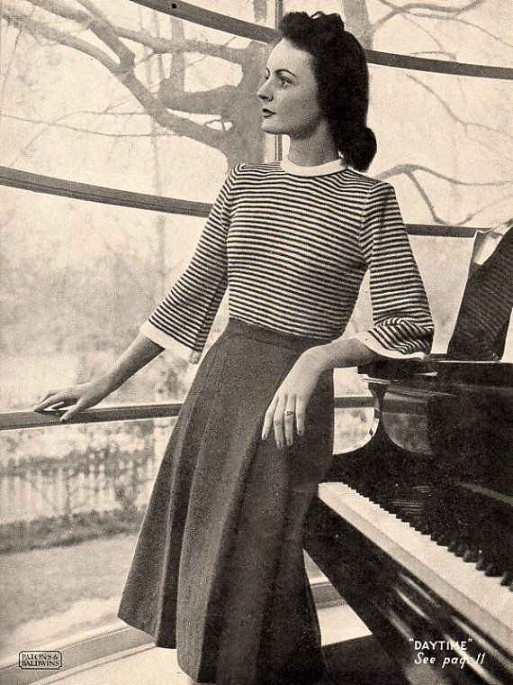 #1940s #sweater #stripes Knitting Patterns for Women - Patons & Baldwins Original Knitting Book No. 219