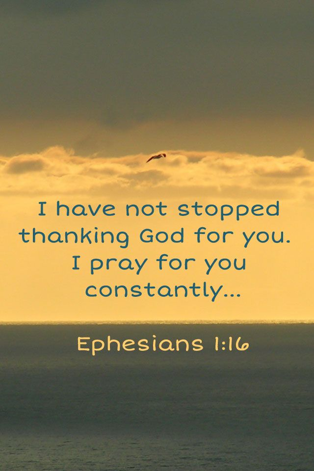 Ever since I heard about your faith in the Lord Jesus & your love for all God's people, I have not stopped giving thanks for you, remembering you in my prayers. Ephesians 1:15-16