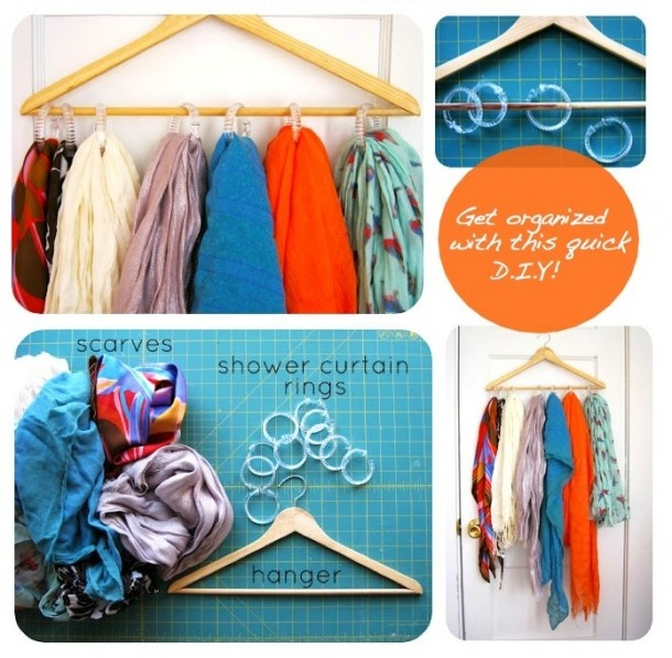 Opruimtips | Opbergsysteem voor je sjaals, met een kledinghanger en gordijnringen. Door deroepnathalie