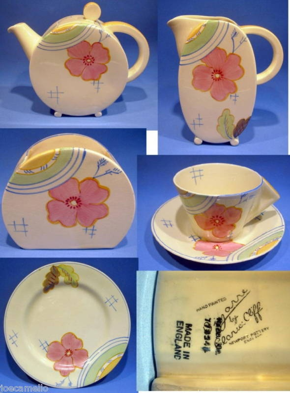 "BIZARRE CLARICE CLIFF TEA SET ""JOSEFINA"" PATTERN 6074   eBay"