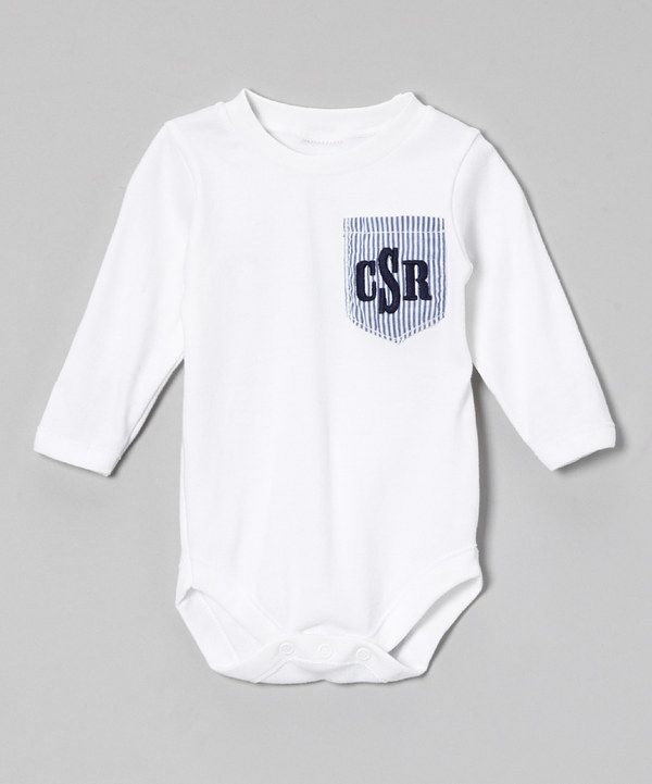 Another great find on #zulily! White Pocket Monogram Bodysuit - Infant by Caught Ya Lookin' #zulilyfinds