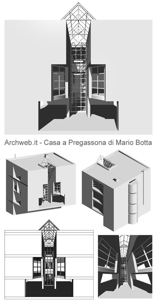 Casa unifamiliare a Pregassona, Svizzera (1979)   Mario Botta   Archweb 3D