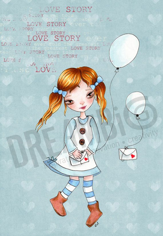love story Girl balloons Girl Nursery Wall by DreamBigArtDesign