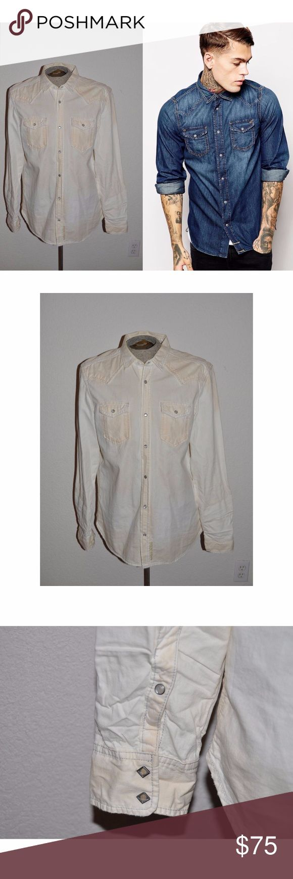 DIESEL Men's Bleached Denim Pearl Snap Shirt [A2] size XXL   Bleached Denim  Pearl Snap Closure Western Yoke   condition: excellent smoke-free home NO TRADES @cjrose25 Diesel Shirts Casual Button Down Shirts
