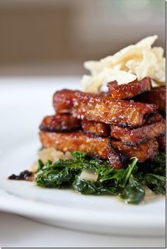 """BBQ roasted tempeh is one of our favorites at home, don't forget the greens! We like """"Austin's Own"""" and """"Stubb's"""" BBQ sauces best.,"""
