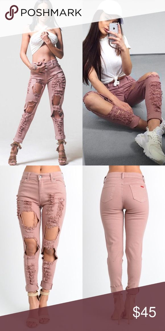 Boyfriend Ripped Pink Jean BOYFRIEND JEAN IN PINK  Full Length High Rise Boyfriend jean features ripped detail in Dusty Pink.    99% Cotton, 1% Spandex  Model is wearing size 3  Note: Style Runs Big. Style 1 size down for a more fitted look.   To RESERVE item, comment below & I'll put you on the reserve list.  Bundle 2 items, get 15% off. Gjg denim Jeans