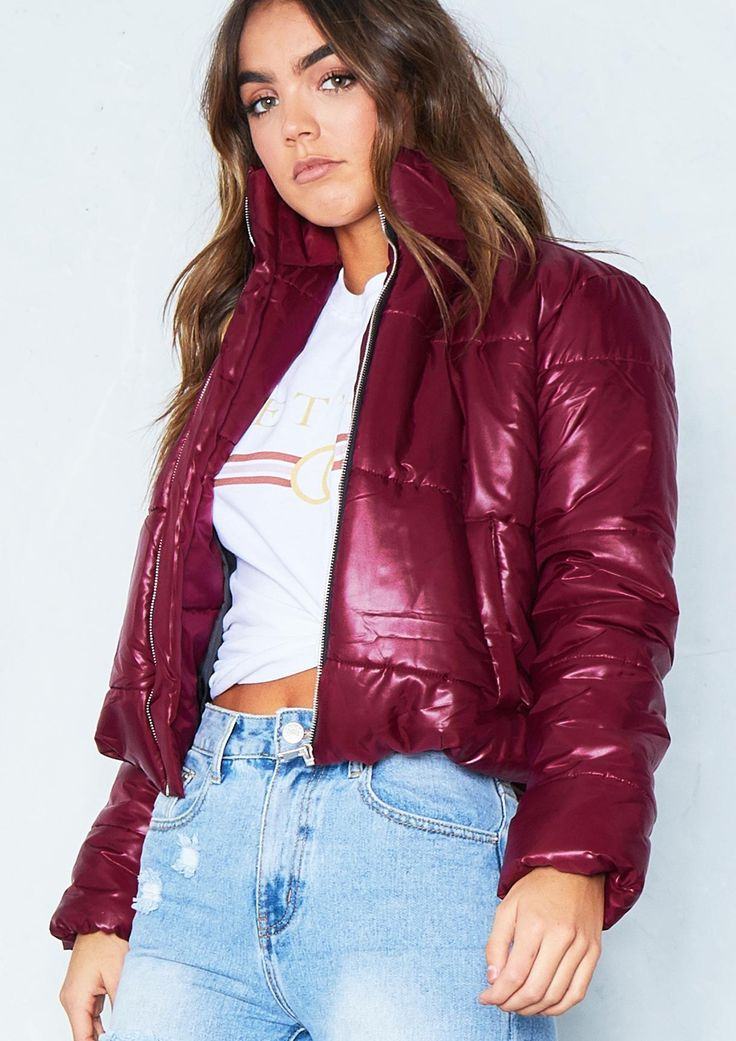 Orla Wine Cropped Puffer Coat Missy Empire