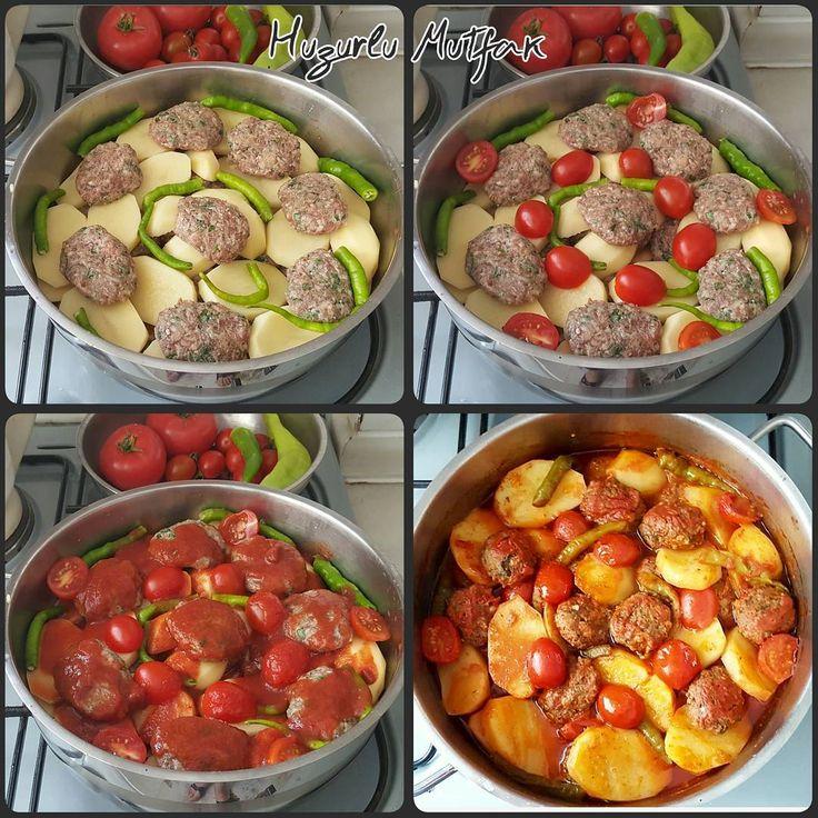 Köfte Patates Malzemeler: Yarım kg köftelik kıyma 1 adet rendelenmis sogan 2_3 dilim bayat veya esmer ekmek içi (ıslatıp sıkalım ve elimizle...
