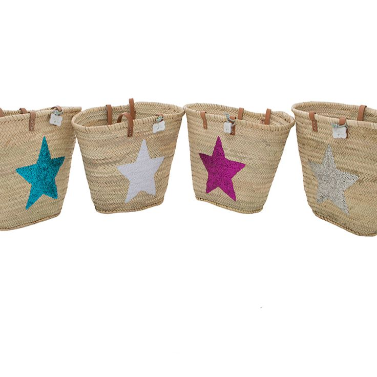 Sequin Star Baskets - with long leather handles. Perfect for the beach, holidays and every day. So many comments when I use these pretty baskets!