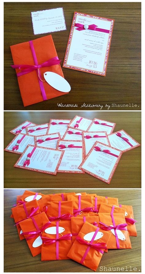 Pearl & Ribbon handmade invitation by Shaunelle. Custom Fuchsia Pink & Orangeblog post> http://shaunellehandmadeinvitations.wordpress.com/  #giftinvitations #satinribbon