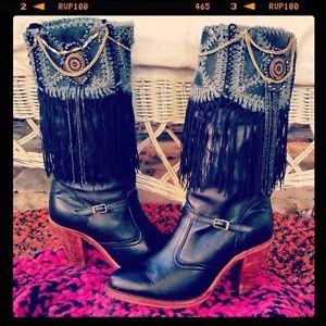 Midnight Beauty Bohemian Gypsy Vintage Leather Boots, Fringe, Size 8