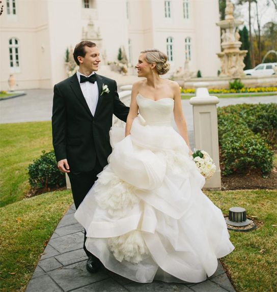 Stunning Haute couture looking wedding dresses can make a huge fashion statement The detailing on the ball gown skirt of this wedding dress are what make it great