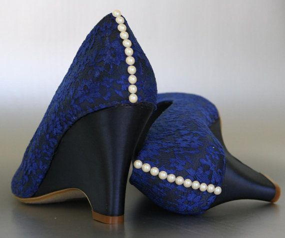 Wedding Shoes    Marine Blue Peep Toe Wedge Wedding Shoes With Sapphire  Lace Overlay And