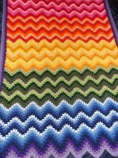 Rainbow express V-stitch ripple afghan (pattern) on Alottastitches blog