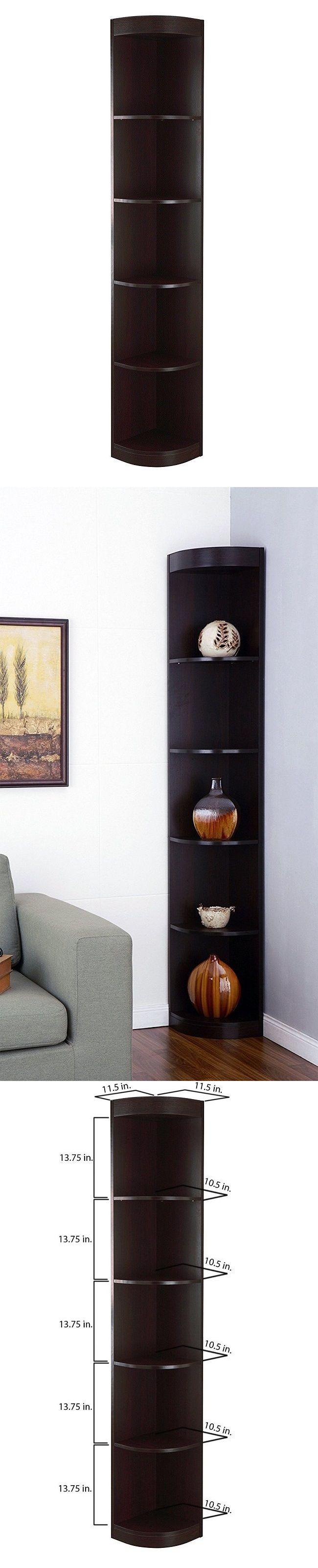 Buy 5 shelf solid teak corner shelf unit from bed bath amp beyond - Bookcases 3199 Corner Shelf Wall Unit Wood Bookcase Storage Decor Tall Inside 5 Tier Standing