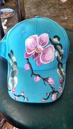 Aqua Orchids Cap, acrylic painted by Luiso luisariasm@yahoo.com
