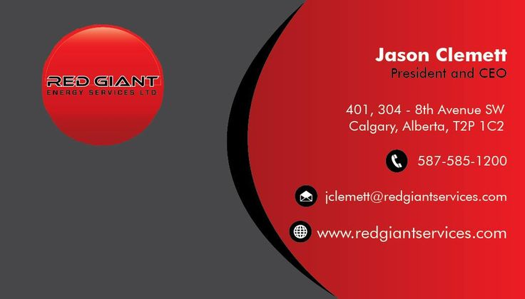 Red Giant Energy Services Ltd business card design