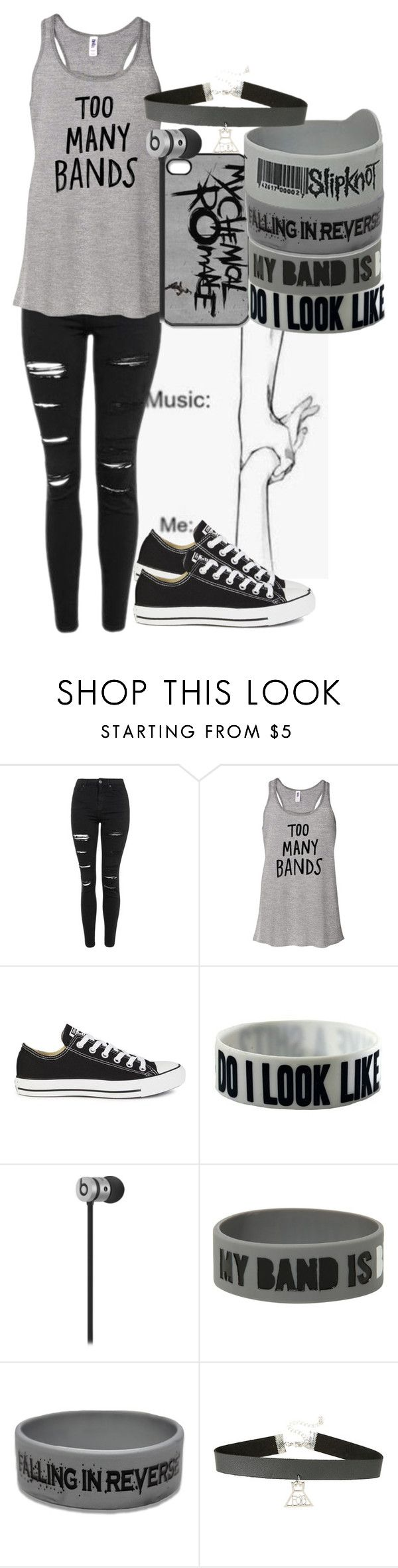 """""""Bands Are My Life"""" by crystal0248 ❤ liked on Polyvore featuring Topshop and Converse"""
