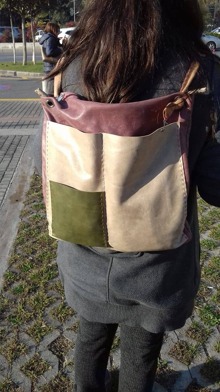 handmade leather tote and backbag by leather crafts anthi