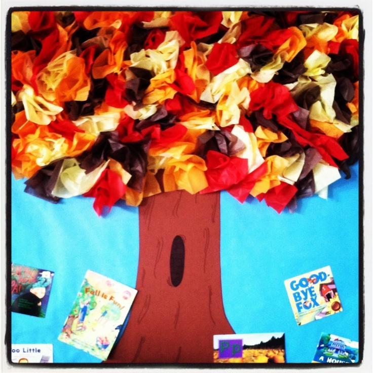 Tissue paper 3-D fall tree bulletin board