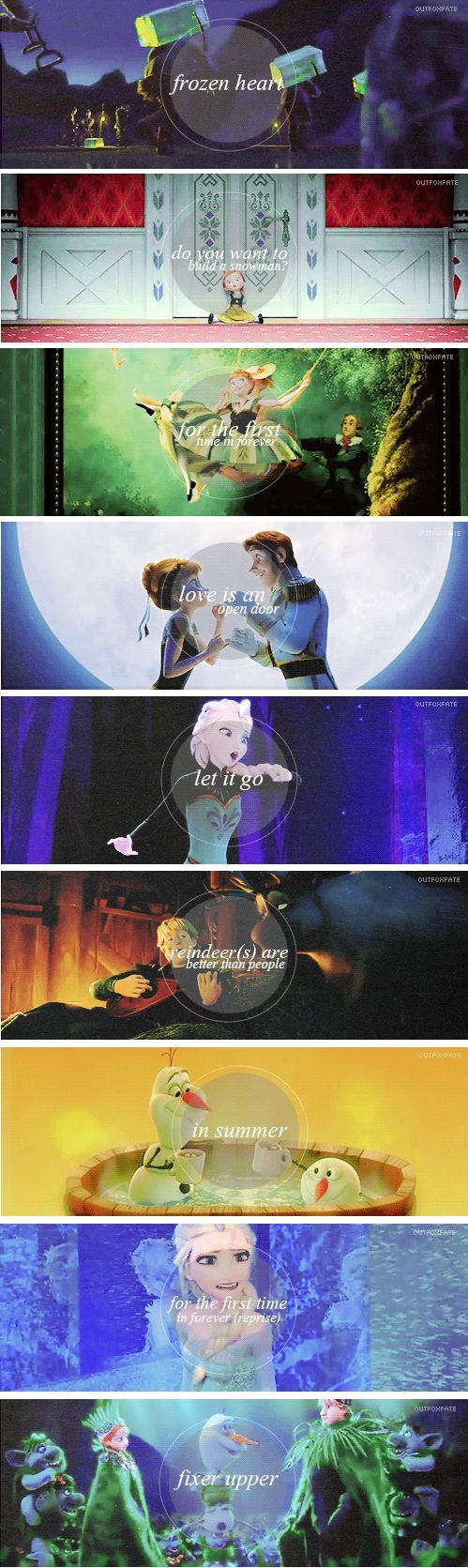 Songs from Frozen the movie