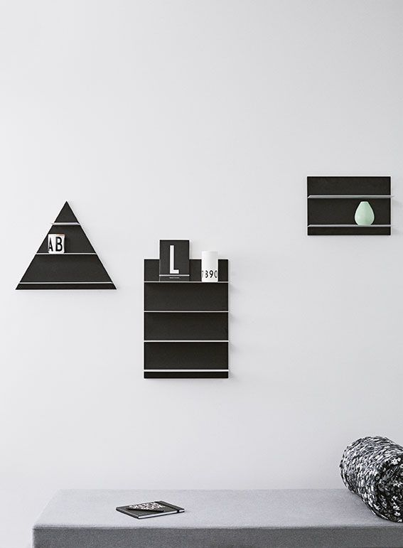 Paper Shelf in black and white and three different variations. A modern and multifunctional shelf and a perfect scene for decoration and storage at the same time. Place a shelf alone or hang more together for a larger shelf system.