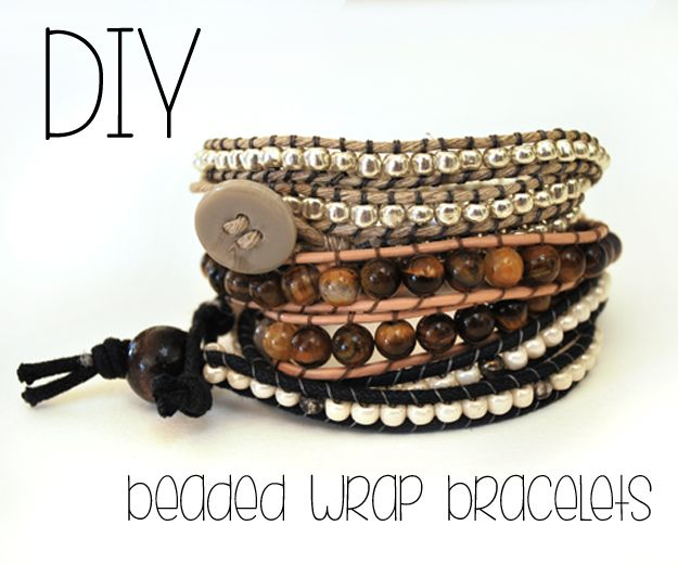 Drawings Under The Table: DIY Beaded Wrap Bracelets - I have been making these like crazy lately. They are fun and really easy.