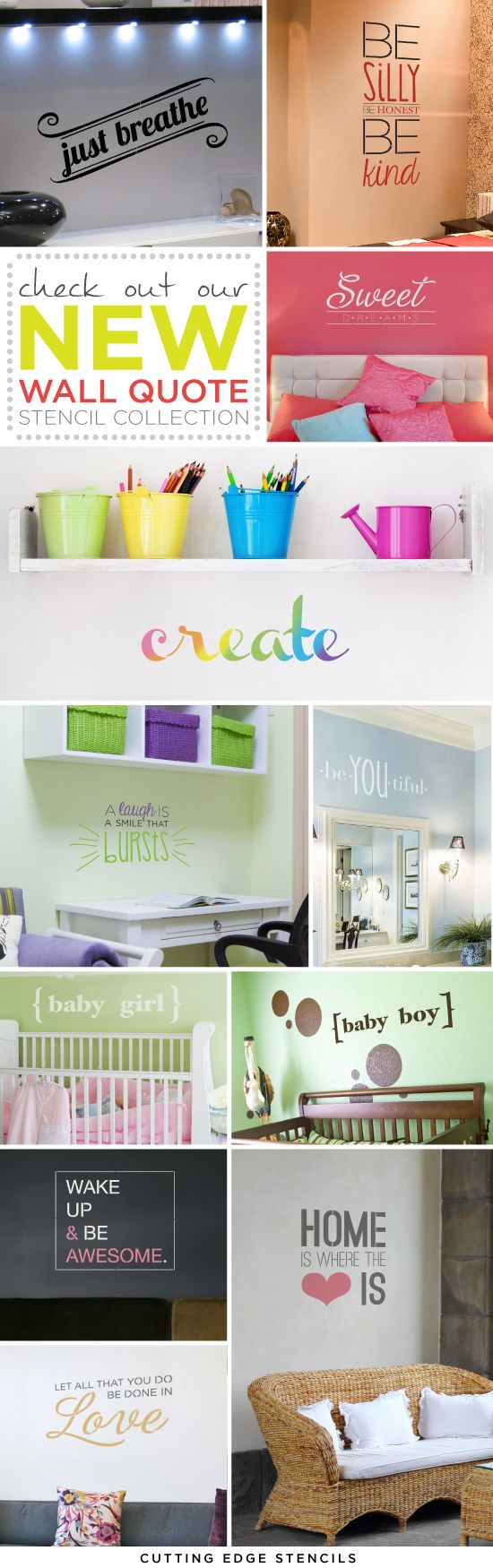 Stencil with a Wall Quote from Cutting Edge Stencils to personalize your space and make a statement! http://www.cuttingedgestencils.com/wall-quotes-stencils-quotes-for-walls.html