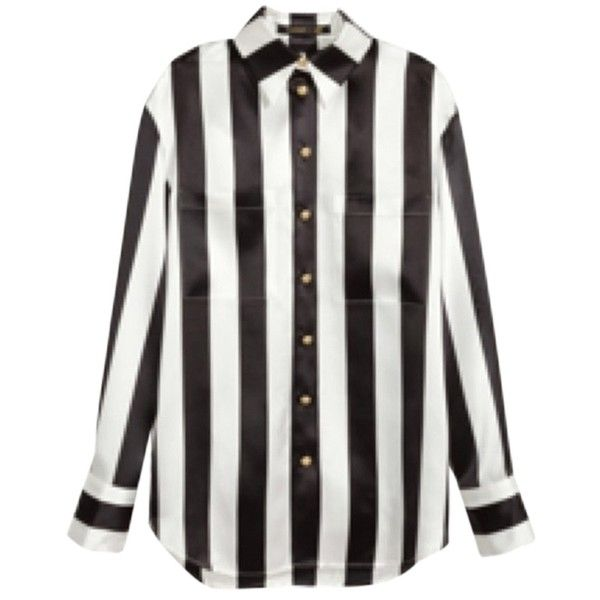 Pre-owned Balmain Top found on Polyvore featuring tops, blouses, shirts, none, white blouse, striped top, stripe top, stripe blouse e striped blouse