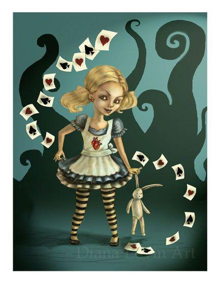 Alice In Wonderland Print -Gothic Fantasy -Fairy Tale Illustration